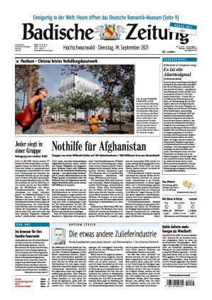 Badische Zeitung - Hochschwarzwald (14.09.2021)