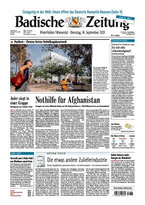 Badische Zeitung - Rheinfelden/Wiesental (14.09.2021)