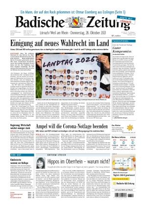Badische Zeitung - Lörrach/Weil am Rhein (28.10.2021)