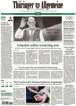 Thüringer Allgemeine - Erfurt (27.07.2021)