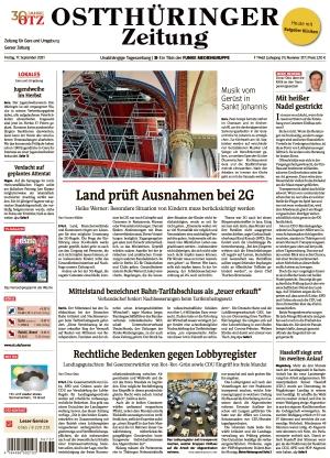 Ostthüringer Zeitung - Gera (17.09.2021)