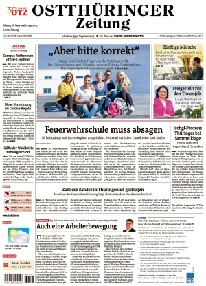 Ostthüringer Zeitung - Gera (18.09.2021)