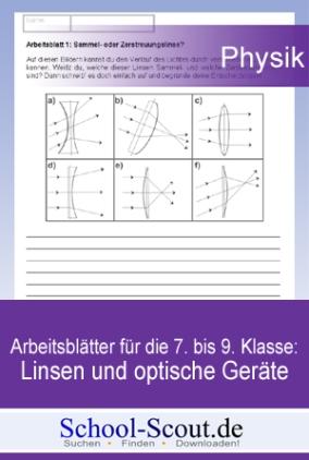 Arbeitsblätter für die 7. bis 9. Klasse: Linsen und optische Geräte