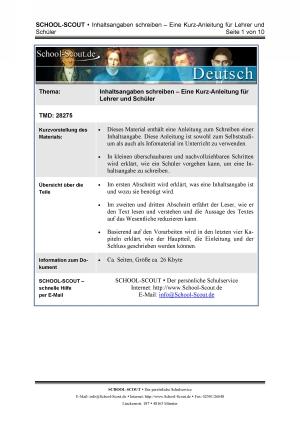 Inhaltsangaben schreiben - Eine Kurz-Anleitung für Lehrer und Schüler