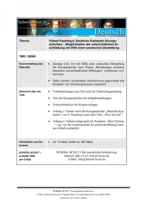 Yüksel Pazarkaya - Deutsche Kastanien (Kurzgeschichte) - Möglichkeiten der unterrichtlichen Erschließung mit Hilfe einer szenischen Darstellung
