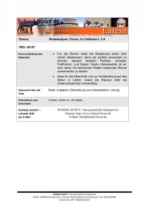 Analyse einer Rede: Cicero - In Catilinam I, 3-4
