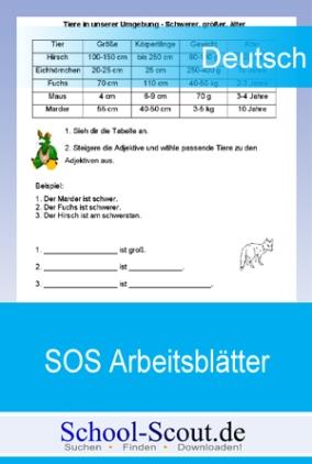 SOS-Arbeitsblätter: Adjektive Funktion, Steigerung, Vergleiche