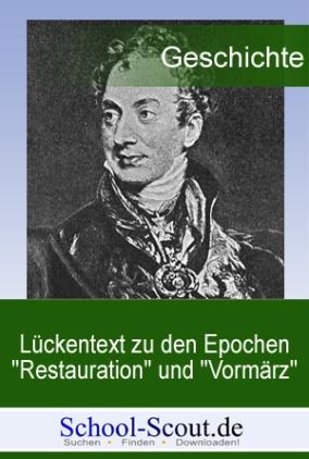 """Lückentext zu den Epochen """"Restauration"""" und """"Vormärz"""""""