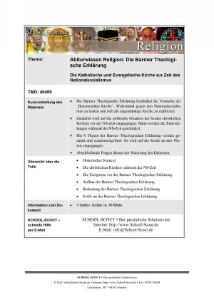 Die Barmer Theologische Erklärung: Die Katholische und Evangelische Kirche zur Zeit des Nationalsozialismus