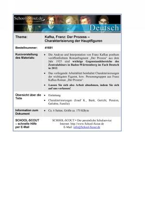 Kafka, Franz - Der Prozess - Charakterisierung der Hauptfiguren