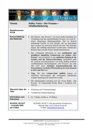 Kafka, Franz - Der Prozess - Inhaltserläuterung