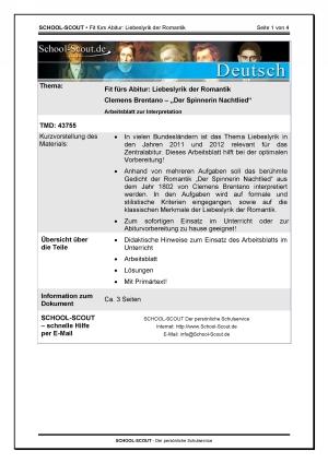 Brentano, Clemens - Der Spinnerin Nachtlied - Arbeitsblatt zur Interpretation