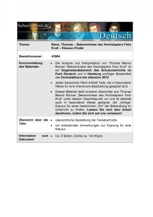 Klausur-Finder: Mann, Thomas - Bekenntnisse des Hochstaplers Felix Krull