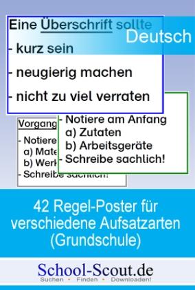 42 Regel-Plakate für verschiedene Aufsatzarten (Grundschule)