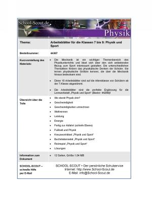 Arbeitsblätter für die Klassen 7 bis 9: Physik und Sport