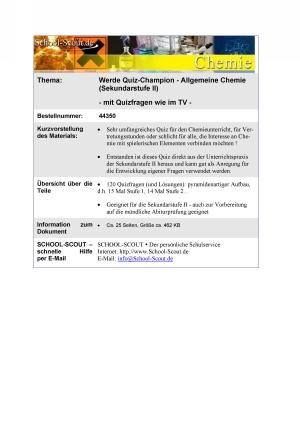 Werde Quiz-Champion - Allgemeine Chemie (Sekundarstufe II)
