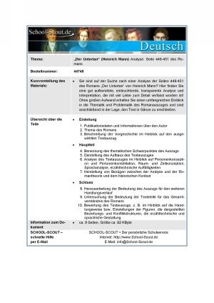 Mann, Heinrich - Der Untertan - Analyse - Seite 449-451 des Romans