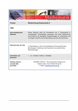 Wiederholung Mathematik Klassenstufe 9