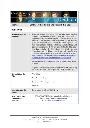 Klausur zu: Keller, Gottfried - Romeo und Julia auf dem Dorfe