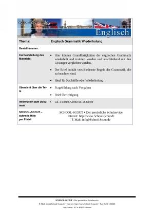 Englisch Grammatik Wiederholung