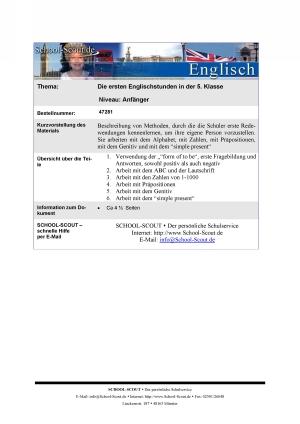 Die ersten Englischstunden in der 5. Klasse