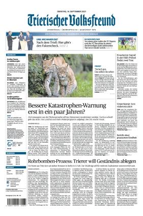 Trierischer Volksfreund - Zeitung für Konz, Saarburg und den Hochwald (14.09.2021)