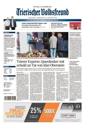 Trierischer Volksfreund - Zeitung für Konz, Saarburg und den Hochwald (22.09.2021)